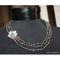 226 Perlas Negras Cultivadas Collar Exclusivo