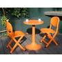 Set Terraza Italiano 1 Mesa + 2 Sillas Naranjas, Ct