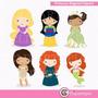 Kit Imprimible Princesas Disney 3 Imagenes Clipart