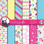 Kit Imprimible Pack Fondos Pony Arcoiris Clipart