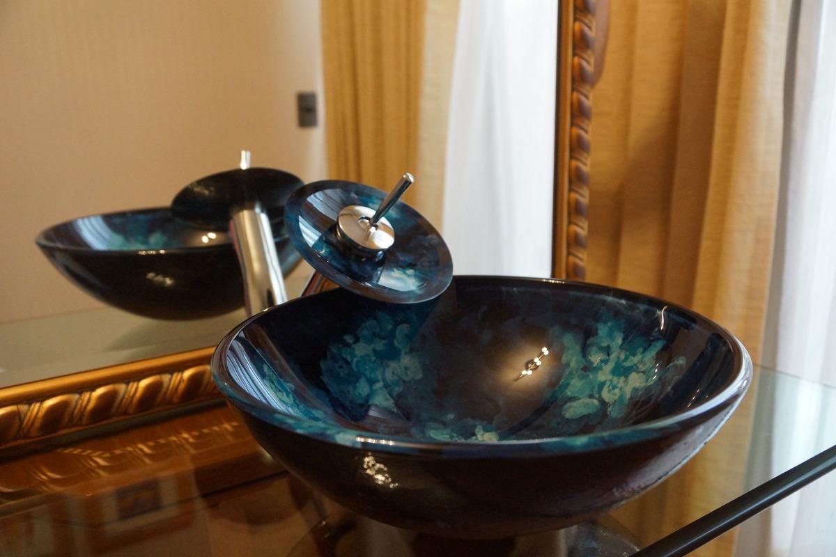Griferia Vidrio Cascada Para Baño Diseno Elegancia:Lavamanos Vidrio Templado +griferia Cascada+desagüe Pop – $ 120000