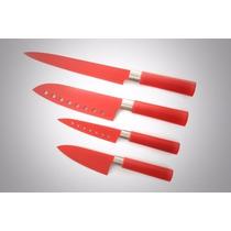 Set De 4 Cuchillos Japoneses Profesionales Color Rojo