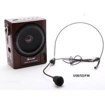 Microfono Tipo Piloto Amplificador Recargable Radio Mp3 Usb