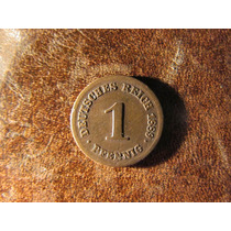 Moneda Alemana De Cobre 1889 1 Pfennig 1,7 Centimetros.