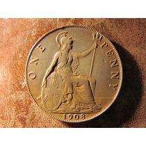 Moneda Inglaterra Cobre 1 Penny Penique 1908 Buen Estado 3cm