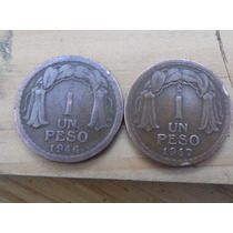 Moneda Chilena De Un Peso Año 1946 - 1947