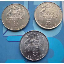 3 Monedas Chile Serie Completa 5 Escudos 1971-1972 A $ 3.500