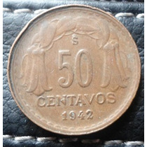 Moneda De Chile 50 Centavos 1942 Valor $ 1.800