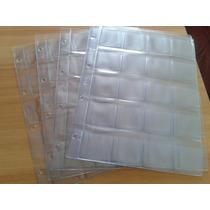 10 Hojas Gruesas Folio Con 20 Espacios Para Monedas En Cart.