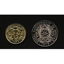 Bhutan - Lote De 2 Monedas 1 Ngultrum Y 25 Chetrums ¿ 1979