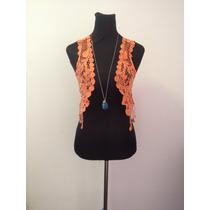 Tapadito Tapado Tipo Crochet Naranjo Estilo Hippie Chic
