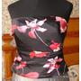 Corset Seda Strapless Lillie Rubin Orquideas Negro Rojo Ts