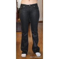 Crest Jean Pantalones Negros Plateados Tachas Ts