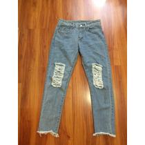 Bellos Jeans Pitillos Pantalones Tiro Largo Cintura Rasgados