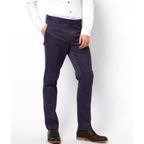 Pantalon De Vestir Asos Hombre Azul Marino Slim Fit