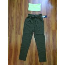 Estilosos Pantalones Tiro Alto Cintura Verdes Jeans Pitillo