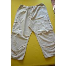 Pantalón Capri Mujer Talla 42 - 48 Color Crema Tela Liviana