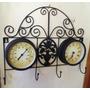 Perchero Metalico Reloj Y Barometro Hermoso Diseño Antiguo