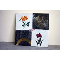 Cuadro Moderno, Flores En Fondo Blanco Y Negro, Oleo S Tela