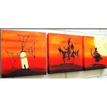 Cuadros Abstractos Modernos,tripticos Decorativos $33.000