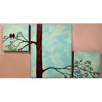 Cuadros Aves Minimalistas Tripticos Decorativos Colores