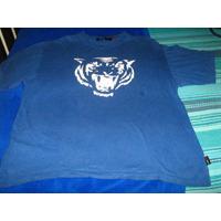 Polera Azul Diseño Tigre Marca Second Image Talla L Algodón