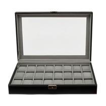 Caja Cuero Negra Para Coleccionar 24 Relojes, Finisima