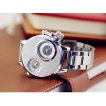 Reloj Hombre Doble Dial Acero Inoxidable.