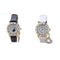 Hermoso Reloj Mujer Pulsera Pu Cuero Y Detalle De Cristales