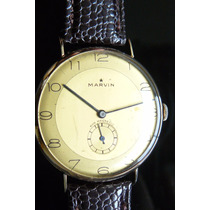 Reloj Oro Solido Suizo Marvin 38mm A Cuerda 15 Rubis Año 45