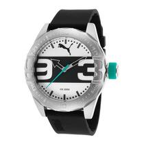 Reloj Puma Black Silicone Silver-tone And Black Dial -