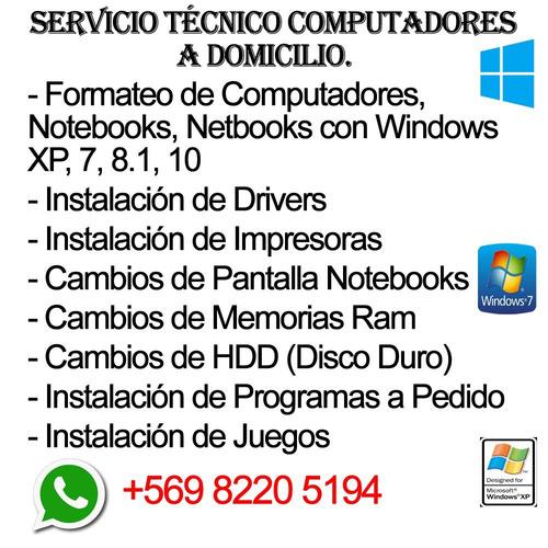 Reparación Y Limpieza De Computadores, Formateo A Domicilio