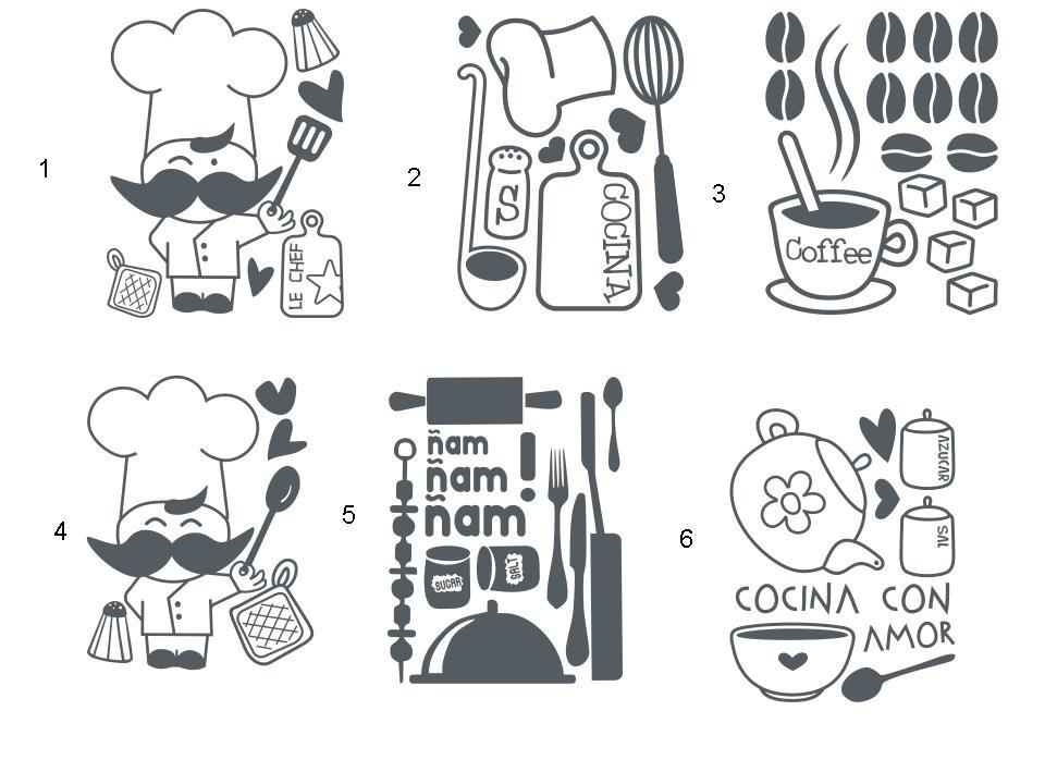 Set de vinilos adhesivos decorativos para cocina - Vinilos adhesivos para cocina ...