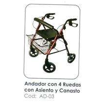 Andador ( Burrito) 4 Ruedas, Asiento Y Frenos Nuevos