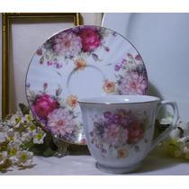 Hermosa Taza De Te Porcelana Con Tema Floral