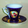 Tazas Te C/platillo Porcelana Bavarie Azul C/folia Oro 24 K.