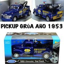 Chevy 3800 Año 1953 Grúa Metálica De 20 Cms. Esc. 1:24 Nueva