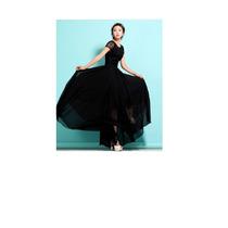 Precioso Y Elegante Vestido Negro Largo Capas Gasa Y Encaje