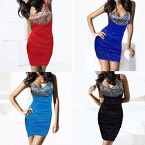Vestido De Fiesta De Lentejuelas Colores Azul, Negro Y Rojo