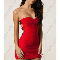 Vestido Rojo Sexy Espalda Y Strapless + Envío Gratis!!!