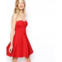 Hermoso Vestido Strapless Rojo Asos Skater Bandage T40 M