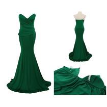 Vestido De Fiesta Muy Largo Strapless Verde