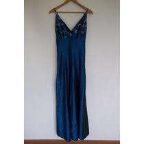 Vestido Fiesta Azul Bordado