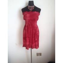 Lindo Vestido Rojo Top Strapless Hippie Chic