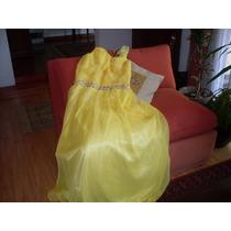 Vestido Amarillo Largo En Gasa Capas Precioso Escote T 40-42