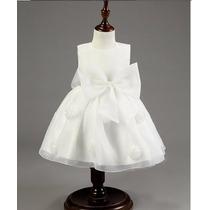 Vestido Blanco Para Bebe De Algodón Y Falda De Gasa.
