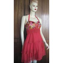 Vestido Exclusivo De 3 Capas, Gasa Rojo Con Adorno Flores