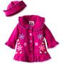 Abrigo De Polar Rosa Púrpura Con Gorro Talla 12-18 Meses